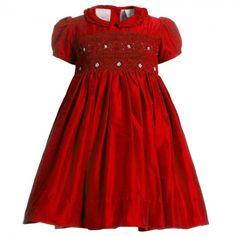 Annafie - Hand-Smocked Blue Silk Dress | Childrensalon