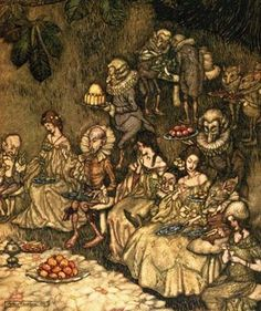 'Fairies Feast' by Arthur Rackham. I have a print of this hanging up in the living room. I love love love it!
