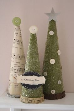 *Vintage Christmas Trees* - Two Peas in a Bucket. Love the sheet music and buttons! Diy Christmas Tree, Merry Little Christmas, Christmas Love, Christmas Projects, All Things Christmas, Winter Christmas, Vintage Christmas, Christmas Decorations, Christmas Ornaments