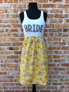 Garden Party BRIDE Dress Grey/yellow  Sm/Med by thearmorofGod, $49.00 #GreyandYellowWedding #backyardwedding #indiewedding #honeymoondress #rehearsaldinnerdress #bridalshower #bacheloretteparty #bridedress