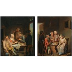 Figures eating, drinking and smoking at a table (+ A mother and child, a soldier and an elderly couple drinking at a table; pair) von Justus Juncker