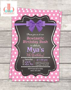 printable girls pink polkadot and purple bow birthday party invites @DigiBabyDesign #socute #bowparty #happybirthday
