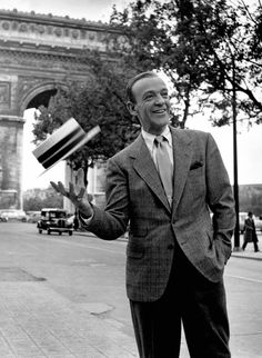 Astaire On The Avenue. Finally in high res: Fred Astaire in Funny Face, 1956, wearing Anderson & Sheppard and the Brooks Brothers polo collar.