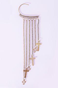 Hanging Cross Ear Cuff   SO COOL!  http://www.nastygal.com/accessories-jewelry/hanging-cross-ear-cuff#