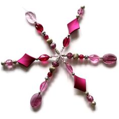 Christmas decoration beaded Snowflake Star Tree  Pink and silver £12