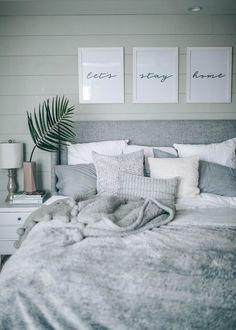 Grey, White, Cozy, Coastal Shiplap Bedroom Decor on Home Inteior Ideas 597 Scandinavian Bedroom Decor, White Bedroom Decor, Room Ideas Bedroom, Cozy Bedroom, Home Decor Bedroom, Master Bedroom, Bed Room, Bedroom Wall, White Decor