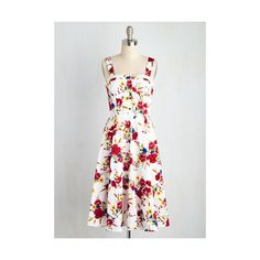 Pinup Sleeveless Fit & Flare Throw Blossoms to the Wind Dress ($90) ❤ liked on Polyvore featuring dresses, apparel, fashion dress, multi, sun dress, white floral dress, white dress, floral sundress and sleeveless sundress
