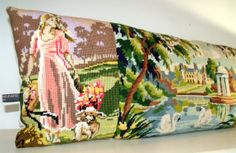 French Unique Large Vintage Tapestry Needlepoint by Retrocollects