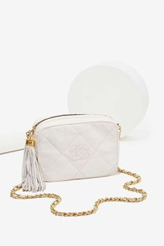 Vintage Chanel White Lizard Bag