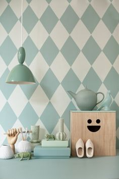 Harlequin Wallpaper and Plywood Box by ferm LIVING Galleri - Linda Åhman Interior Designer.Don't have enough money for tile backsplash? Interior Design Trends, Interior Inspiration, Colour Inspiration, Design Ideas, Interior Ideas, Deco Pastel, Harlequin Wallpaper, Diamond Wallpaper, Plywood Boxes