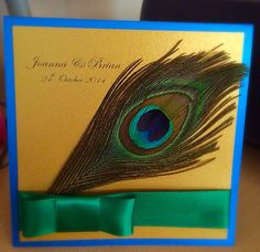 Real Peacock feather with stunning vibrant pearl card and ribbon. Pocketfold invite complete with RSVP by Made Marvellous Pocketfold Invitations, Invites, Wedding Invitations, Card Making Techniques, Punch Art, Bird Houses, Rsvp, Peacock, Feather