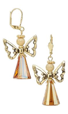 Earrings with Swarovski Crystal Beads, Antiqued Gold-Plated Pewter Beads and Gold-Plated Brass Beads - Fire Mountain Gems and Beads