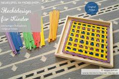 Schönes Muster als Vorlage zum Flechten/ Weben für Kinder (und Erwachsene). Zubehör: 120 farbige Holzspäne (gebeizt), Made in Germany, Erzgebirge, für Kinder ab 5 Jahren, Original Fröbel, zu kaufen gibt es das Spiel im FRÖBELSHOP