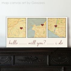 Long distance love -- Such a cute keepsake for the engaged couple who lives a part but will soon relocate to create a new life together.