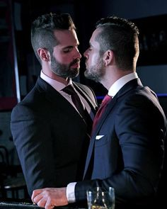 Dani Robles and Isaac Eliad in 'Perfect Strangers' at Men At Play Perfect Strangers, Mens Fashion Suits, Mens Suits, Lgbt, Saint Yves, Scruffy Men, Hunks Men, Men Kissing, Stylish Boys