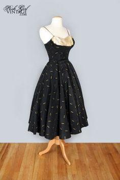 1950's Black & Gold Full Skirt Evening Party Dress- S