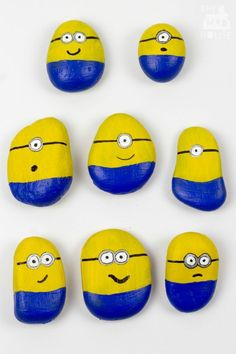 Minion stones - this super cute Minion craft is simple to do with children.  Have fun with the Minions and this kids craft using rocks or stones.