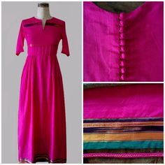 This hot pink colored dress has been crafted from a traditional Indian cotton sari that has been locally sourced from a village in Pune in