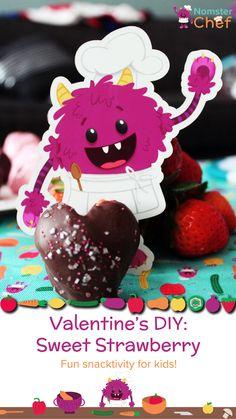 Valentine's DIY Sweet Strawberries. Easy Valentine's recipe for kids.  valentines recipe, valentines healthy recipe, valentines DIY, valentines craft, valentines strawberries, chocolate covered strawberries, yogurt dipped strawberries Kids Valentines, Valentine Crafts, Healthy Desserts For Kids, Chef Blog, Sweetest Day, Chocolate Covered Strawberries, Cooking With Kids, Kids Nutrition, Kid Friendly Meals