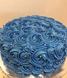 Silver and blue rosette cake Sweet 16 Birthday Cake, 90th Birthday, Birthday Celebration, Birthday Parties, Silver Anniversary, Anniversary Parties, Mini Tortillas, Wedding Shower Cakes, Rosette Cake