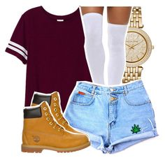 """""""-"""" by babygirlslayy ❤ liked on Polyvore featuring Michael Kors, Victoria's Secret PINK and Timberland"""