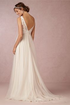 Tamsin Gown in Bride Wedding Dresses at BHLDN BACK. I know it needs a train!!!