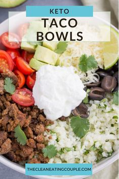 Keto Taco Bowls are a delicious low carb, keto lunch or dinner! Naturally gluten free and perfect for meal prepping, these taco bowls are packed with flavor! #keto #lowcarb #glutenfree #healthy #mealprep Healthy Tacos, Healthy Gluten Free Recipes, Healthy Dinner Recipes, Mexican Food Recipes, Yummy Recipes, Keto Recipes, Clean Eating Guide, Easy Clean Eating Recipes, Easy Healthy Dinners