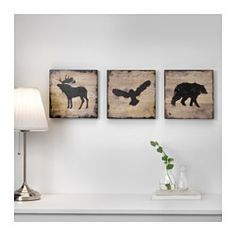 IKEA - BJÖRNAMO, Picture, set of 3, The pictures have a deep frame and can be hung on a wall or placed on a shelf.You can personalize your home with artwork that expresses your style.