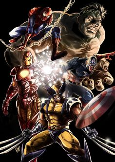 Spider-Man, Wolverine & the Avengers. When, oh, when are Spiderman and Wolverine going to be included as an Avenger? Ms Marvel, Marvel Comics Art, Marvel Heroes, Anime Comics, Marvel Comic Character, Comic Book Characters, Marvel Characters, Comic Books Art, Book Art