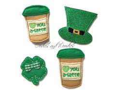 Hey, I found this really awesome Etsy listing at https://www.etsy.com/listing/263152026/set-of-4-st-patrick-felt-appliques