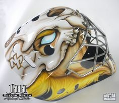 New Nashville Predators backup Carter Hutton has lesser known Marvel Comic character Sabertooth wrapped around his own face – and Sabertooth is also wearing some headgear of his own: a Saber Tooth Tiger Skull –on his mask.
