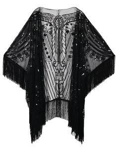 Shop a great selection of PrettyGuide Women's Evening Wrap Beaded Shawl Fringed Oversized Cover Up. Find new offer and Similar products for PrettyGuide Women's Evening Wrap Beaded Shawl Fringed Oversized Cover Up. Moda Art Deco, Beaded Cape, Mode Abaya, Mens Cashmere Scarf, Kimono Coat, Evening Shawls, Fringe Kimono, Gala Dresses, Flapper Dresses