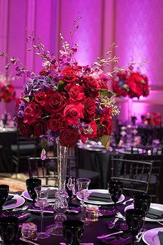 Lilium Floral Design, Jewel Tone Wedding - more purple and texture than this but similar style - Wedding Colors Purple Wedding Flowers, Fall Wedding Colors, Floral Wedding, Wedding Day, Wedding Black, Wedding Ceremony, Wedding Dress, Wedding Arrangements, Wedding Centerpieces