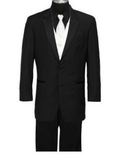 Black tux/shirt, white tie/vest