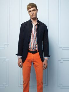 Orange pants / checked shirt