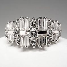 Diamond Anniversary Ring Baguettes & Round Brilliants 14K Gold What do you think? Too much or just right?