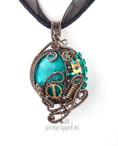 OOAK Teal green steampunk wire wrapped pendant by ukapala on Etsy