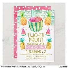 Watercolor Two-Tii Frutti 2nd Birthday Invitation 1st Birthday Invitations Girl, Girl 2nd Birthday, 2nd Birthday Parties, Happy Birthday, Custom Invitations, Tropical, Watercolor Invitations, Colored Envelopes, Favors