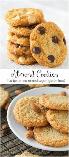 Easy Almond Cookies These healthy almond cookies are chewy and full of flavor, nothing short of regular old chocolate chip cookies.These healthy almond cookies are chewy and full of flavor, nothing short of regular old chocolate chip cookies. Almond Flour Cookies, Almond Flour Recipes, Paleo Cookies, Gluten Free Cookies, Gluten Free Baking, Gluten Free Desserts, Vegan Desserts, Chocolate Chip Cookies, Cookie Recipes
