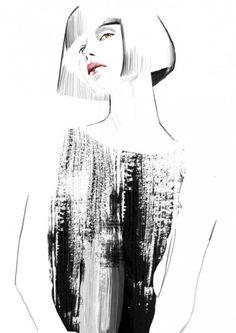 Sandra Suy --black dress with bob