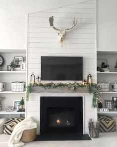 Fantastic Snap Shots Farmhouse Fireplace remodel Popular All set to discover how to improve your hearth for you to obtain that farm house sense devoid of smashing the traditiona Tv Over Fireplace, Shiplap Fireplace, Farmhouse Fireplace, Fireplace Remodel, Fireplace Mantle, Living Room With Fireplace, Fireplace Design, Beach Fireplace, Basement Fireplace