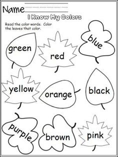 Free color worksheet.  Perfect for the fall.  Students read the color words and color the leaves that color. Color Worksheets For Preschool, Color Word Activities, Coloring Worksheets, Preschool Colors, Kindergarten Worksheets, Kindergarten Classroom, Classroom Activities, Color Words Kindergarten, Rhyming Worksheet
