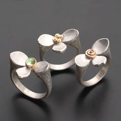 Ai Jewelry  / Aileen Lampman, Lotus rings with 14K center
