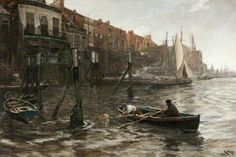 Limehouse Hole, 1910, tempera on canvas by Charles Napier Hemy, British, 1841-1917.  Using a boat as his studio to better study the waters, Hemy was known for his marine paintings. He was the first artist from Falmouth, England, to be a Royal Academician, and this painting is in the Falmouth Art Gallery in Cornwall, England.