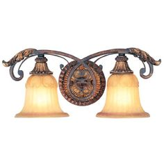 Best Bathroom Light Fixtures | Livex Lighting 855263 Villa Verona 2 Light Verona Bronze Finish Vanity Bath with Aged Gold Leaf Accents and Rustic Art Glass -- Click image for more details.(It is Amazon affiliate link) #follow