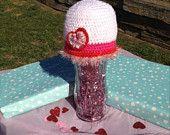 Crocheted Heart Valentine Beanie