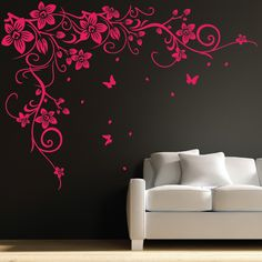 Butterfly Wall Decal  Butterfly Vine Flower Wall Art Stickers, Decals 031