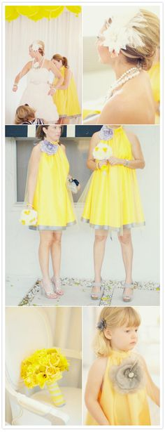 I ADORE these Gray and Yellow Bridesmaids dresses that were worn in a Mid Century Modern and Hollywood Regency themed wedding.