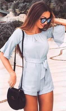 #Summer #Outfits Baby Blue Romper