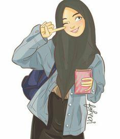 Fashion girl illustration vogue ideas for 2019 Cartoon Girl Drawing, Girl Cartoon, Muslim Girls, Muslim Women, Girls Dp, Cute Girls, Hijab Drawing, Islamic Cartoon, Anime Muslim